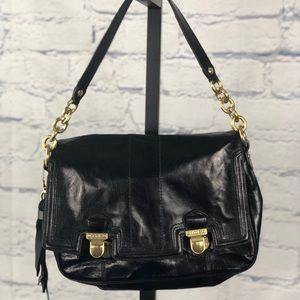 Coach Poppy Pushlock Black Leather Shoulder Bag